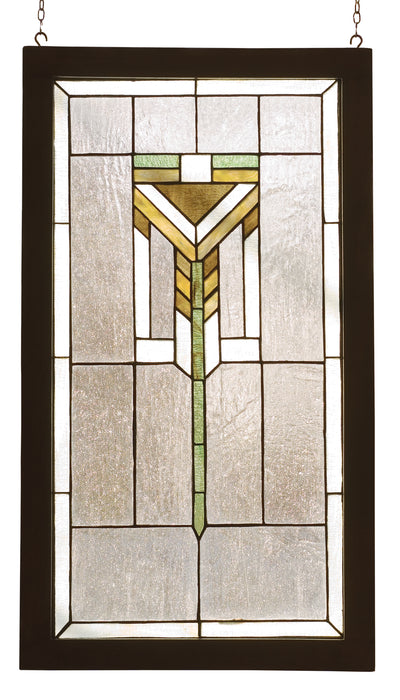 "Meyda Lighting 98099 17""W X 30""H Prairie Wood Frame Stained Glass Window"