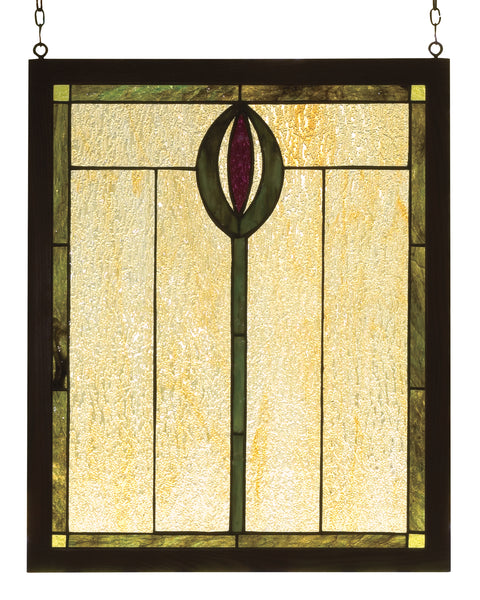 "Meyda Lighting 98100 14""W X 17""H Spear Wood Frame Stained Glass Window"