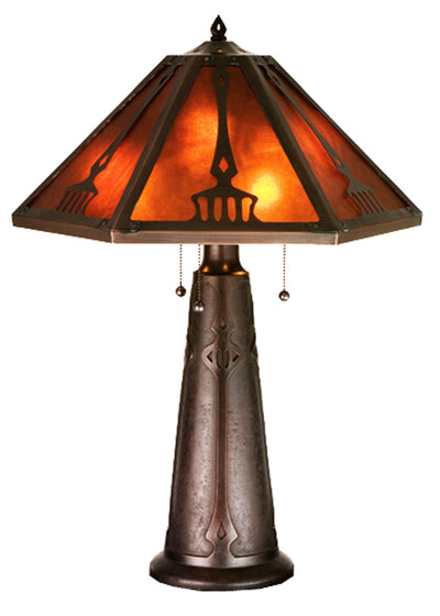 "Meyda Lighting 98516 29""H Grenway Amber Mica Table Lamp"