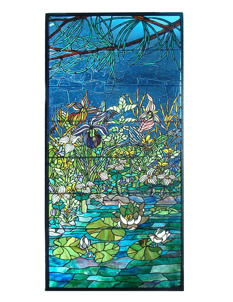 "Meyda Lighting 98736 27""W X 56.25""H Woodland LilyPond Stained Glass Window"