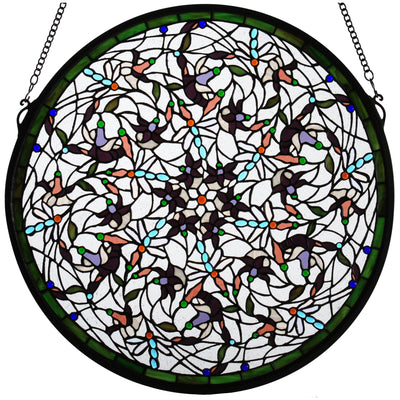 "Meyda Lighting 98951 22""W X 22""H Dragonfly Stained Glass Window"