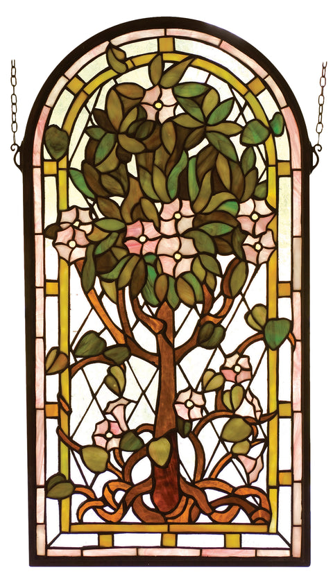 "Meyda Lighting 99049 15""W X 29""H Arched Tree of Life Stained Glass Window"