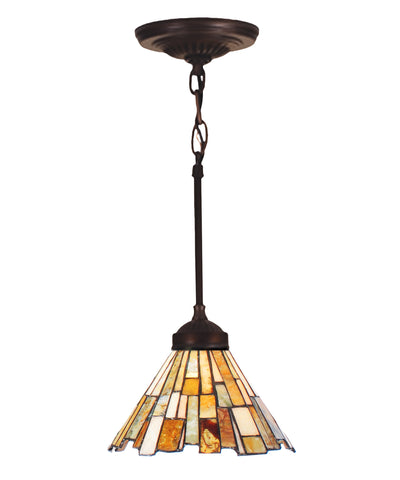"Meyda Lighting 99787 8""W Delta Jadestone Mini Pendant"