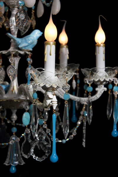 "Bluebird Series ""Autumn Blue Bird"" One of a kind Chandelier by The Ozone Collection"