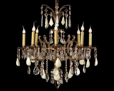 The Ozone Collection Vintage Green Alabaster and Crystal Bronze Chandelier