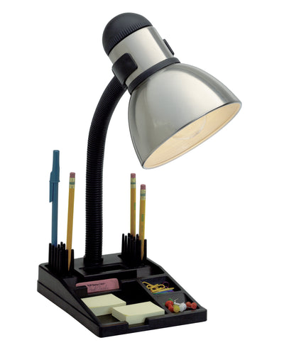 Nuvo Lighting SF76/356 Goose Neck Desk Lamp Steel / Black Finish Organization Tray Base