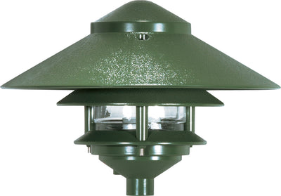 "Nuvo Lighting SF76/634 Pagoda Garden Fixture Large 10"" Hood 1 light 2 Louver Green Finish"