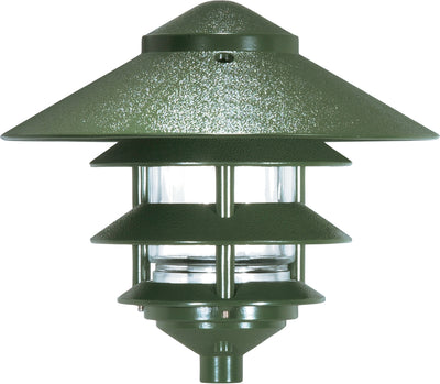 "Nuvo Lighting SF76/636 Pagoda Garden Fixture Large 10"" Hood 1 light 3 Louver Green Finish"