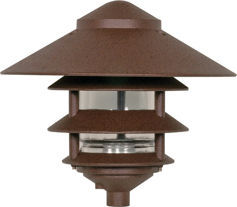 "Nuvo Lighting SF76/637 Pagoda Garden Fixture Large 10"" Hood 1 light 3 Louver Old Bronze Finish"