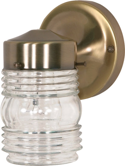 "Nuvo Lighting SF77/995 1 Light 6"" Porch Wall Mount Sconce Mason Jar with Clear Glass"