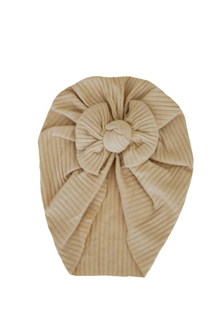 Cream ribbed bow turban