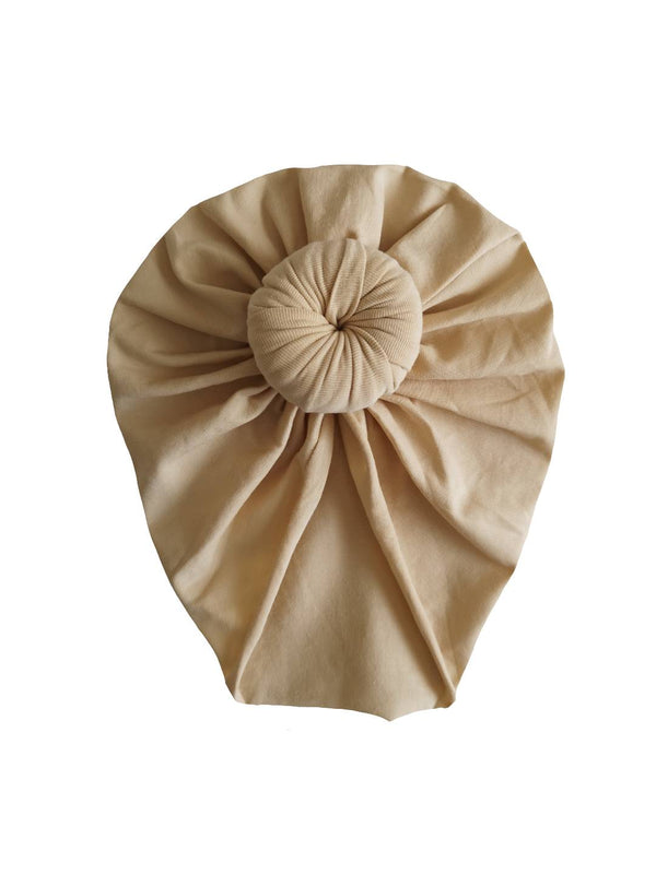 Beige cotton turban hat