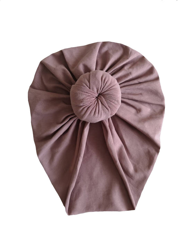Mauve cotton turban hat