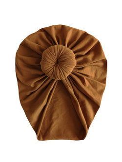 Tan cotton turban hat