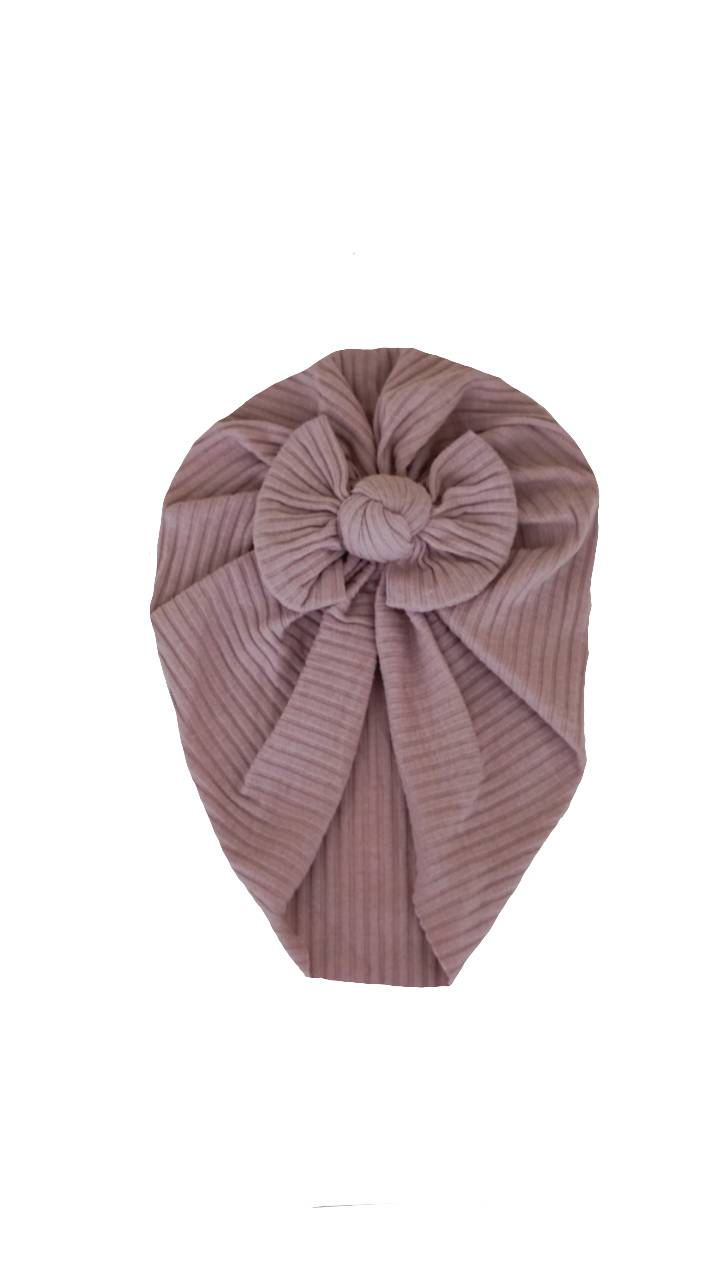 Mauve ribbed bow turban
