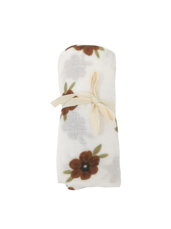 Brown floral muslin blanket