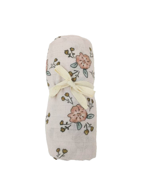 Light pink floral muslin blanket