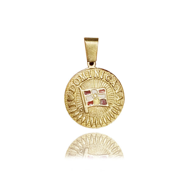 """I love Dominicana"" Yellow Gold Pendant (14K)"