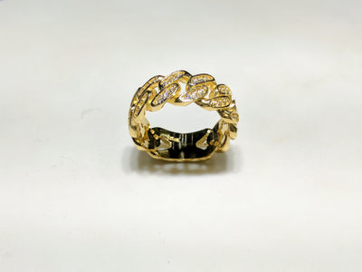 Custom Iced Miami Cuban Link Eternity Ring (Adjustable Band)