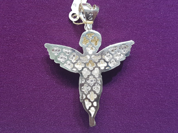 Iced-Out Baby Angel Mesh Back Pendant 10K - Lucky Diamond