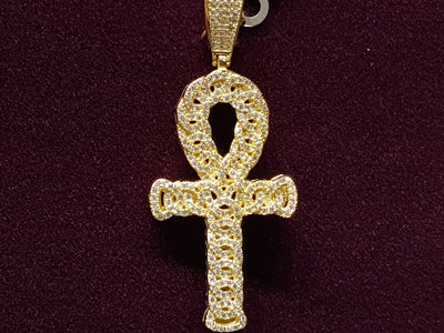 Iced-Out Eternity Weave Ankh Pendant Silver (Yellow)