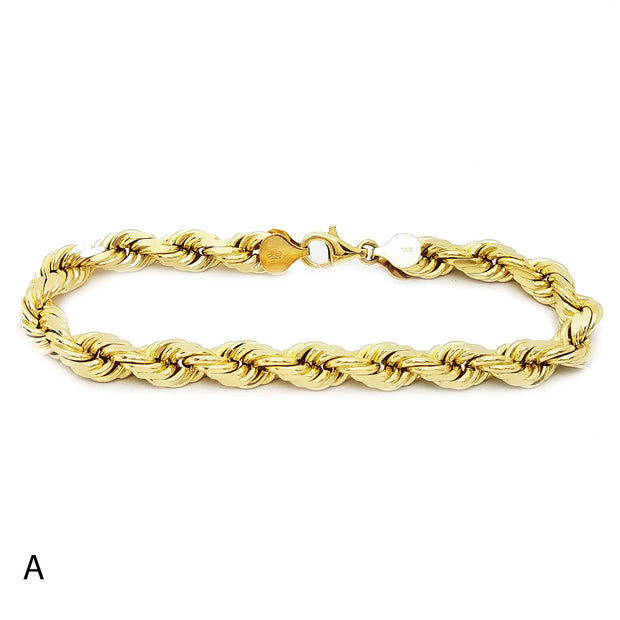 Solid Rope Yellow Gold Bracelet (14K)