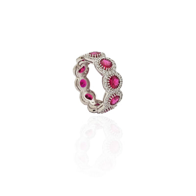 Red Stone Halo Eternity Band (Silver)