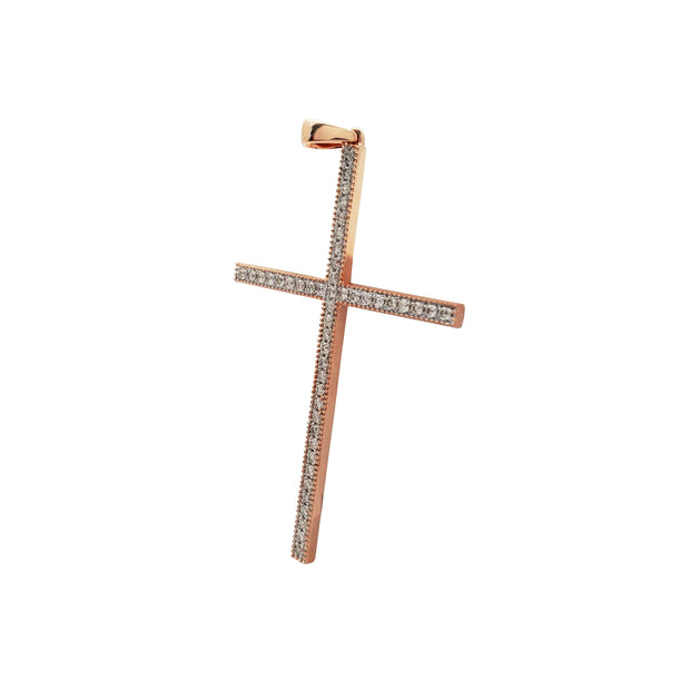 Diamond Cross Pendant (14K Rose Gold)