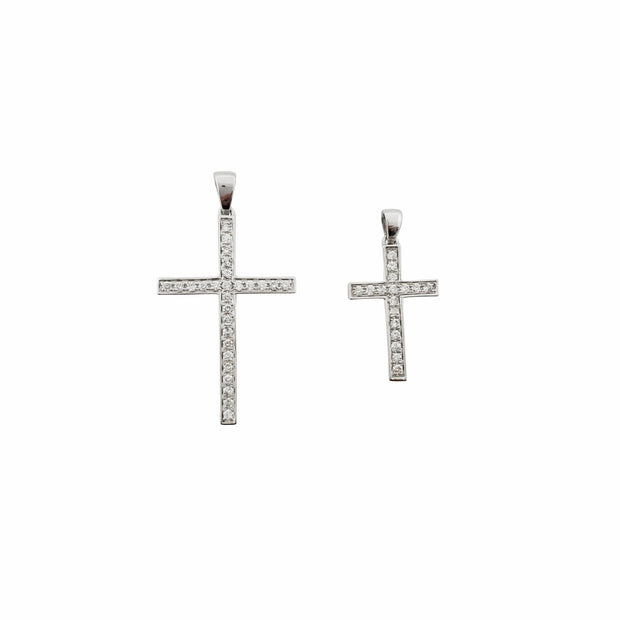Diamond Cross Pendant (14K).