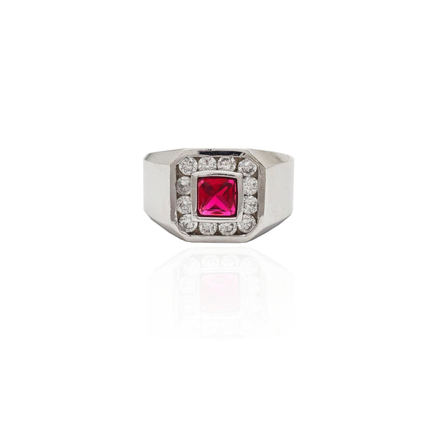 Bezel Set Square Red Stone Halo CZ Ring (14K).