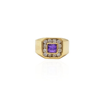 Bezel Set Square Purple Stone Halo CZ Ring (14K).