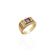 Rectangle Purple Stone CZ Ring (14K).
