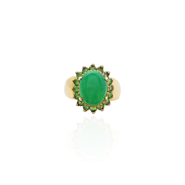 Emerald Halo Jade Stone Ring (14K)