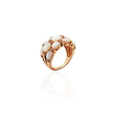Harlequin Moonstone Cocktail Ring (10K)