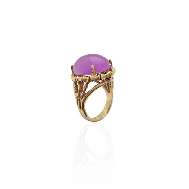 Purple Jade Stone Bamboo Ring (14K).