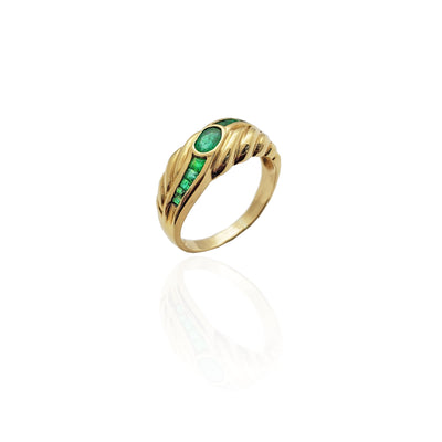 Rope Design Emerald Stones Ring (14K).