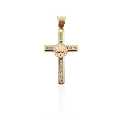 Rosy Dove CZ Cross Pendant (14K)