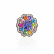 Multi-Color Flower CZ Ring (Silver).