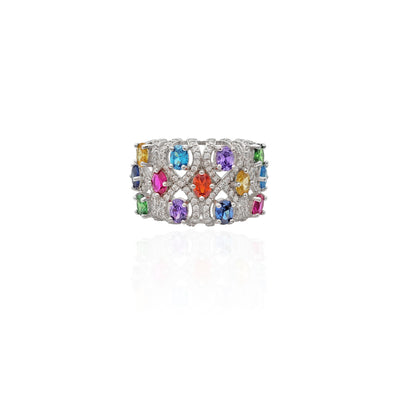 Multi-Color Birthstone CZ Ring (Silver).