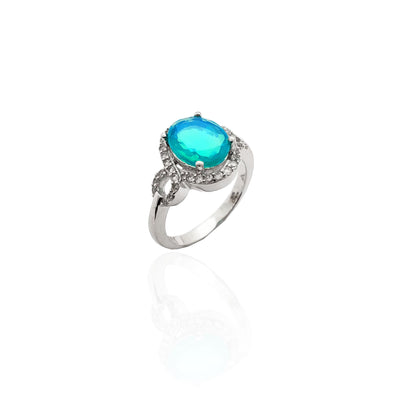 Oval Aquamarine Halo CZ Ring (Silver).