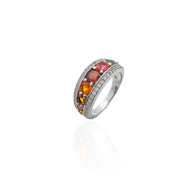 Elegant Multi-color CZ Ring (Silver)