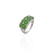 8 Green Eyes Stones CZ Ring (Silver).