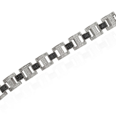 Iced-Out Black & White Buckle Link Bracelet (Silver)