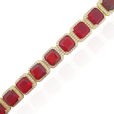 Red Stone Quarry Link Bracelet (Silver)