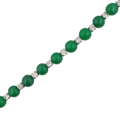 Beaded Jade and CZ Bracelet (Silver)