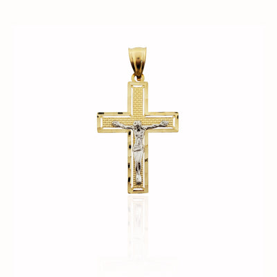 Two-tone Crucifix Pendant (14K).