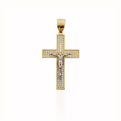 Two-tone Crucifix CZ Pendant (14K).