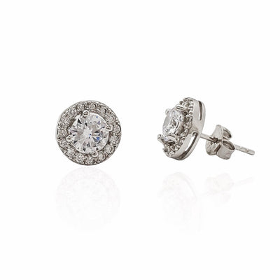 Round Stone Halo Stud Earrings (Silver)