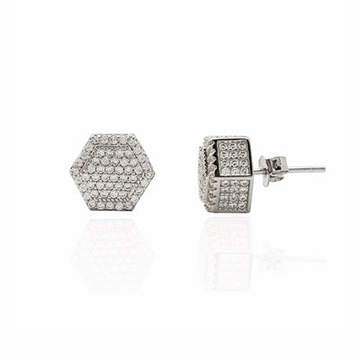 Iced-Out Hexagonal Box Stud Earrings (Silver)