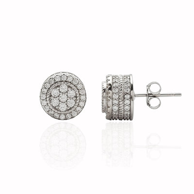 Iced-Out Gateau Stud Earrings (Silver)